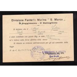 Tessera Repubblica Sociale Italiana Battaglione Autonomo Complementi P.M.50